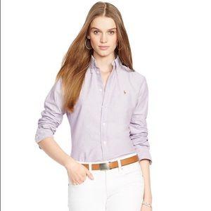 Ralph Lauren Custom Fit Cotton Oxford Shirt Purple